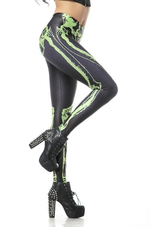 Svarta Leggings med Grönt Skelett