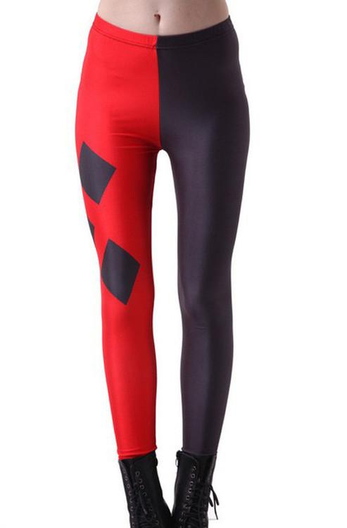 Svart Röda Harley Quinn Leggings