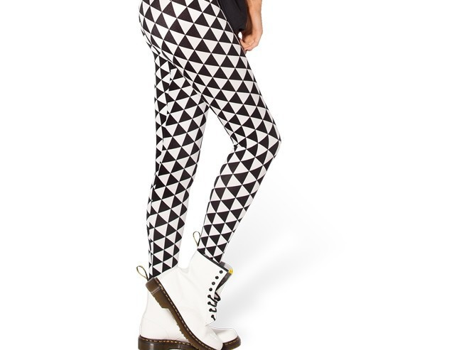 Svart Vit Triangel Leggings