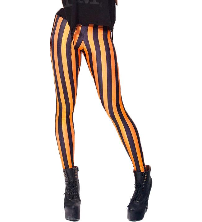 Svart Orange Randiga Leggings