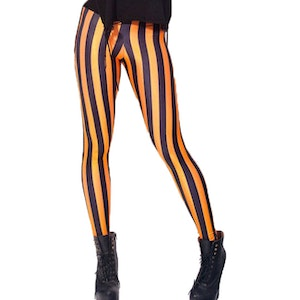 Svart Orange Randiga Leggings