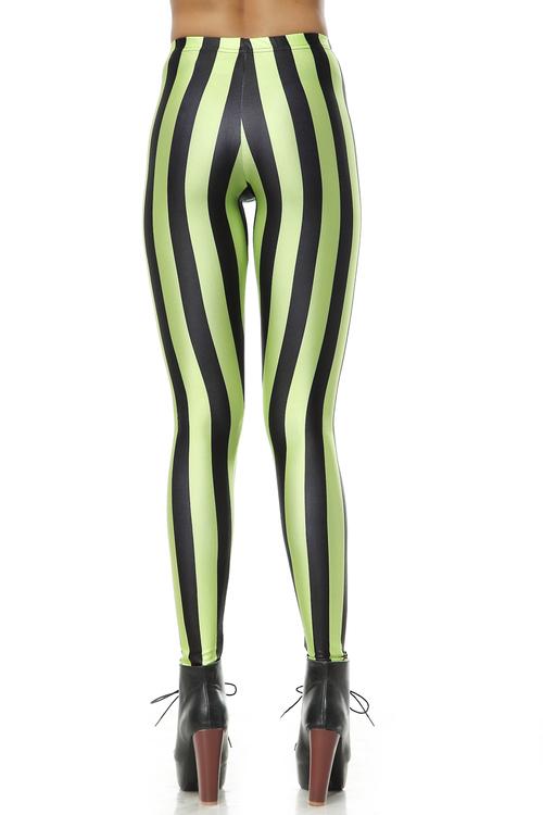 Svart Grön Randiga Leggings