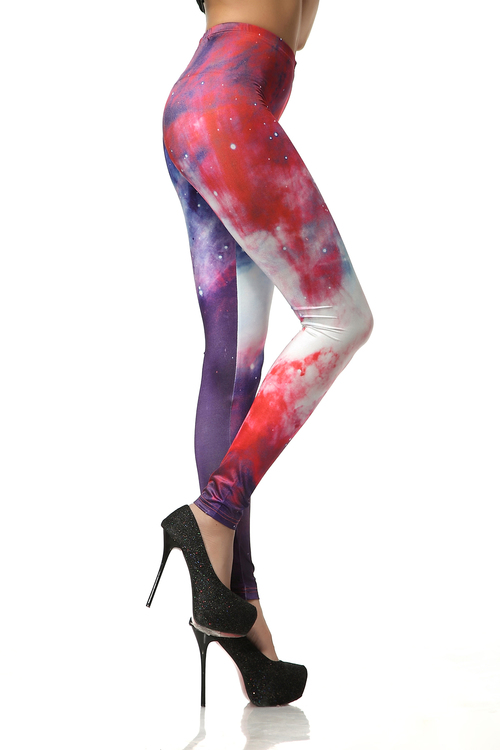 Blå Rosa Galaxy Leggings