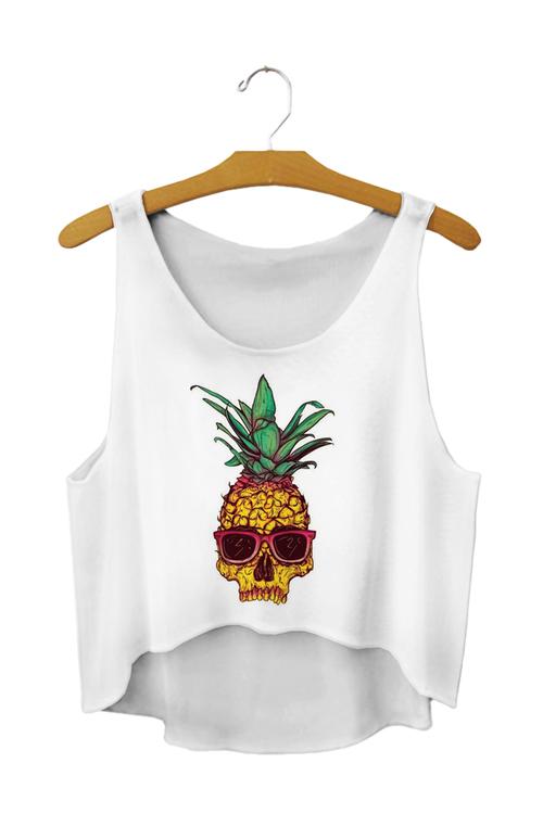 Ananas Dödskalle Crop Topp