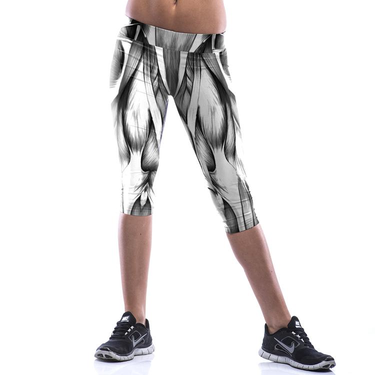 Vit Svarta Capri Leggings med Muskler