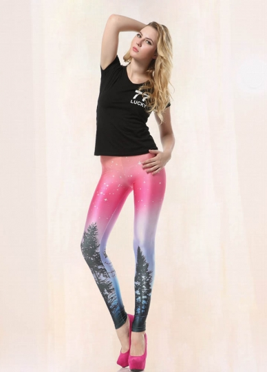 Rosa Galaxy mönstrade Leggings