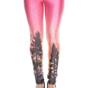 Skogs mönstrade galaxy Leggings
