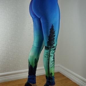 Blå gröna träd Leggings