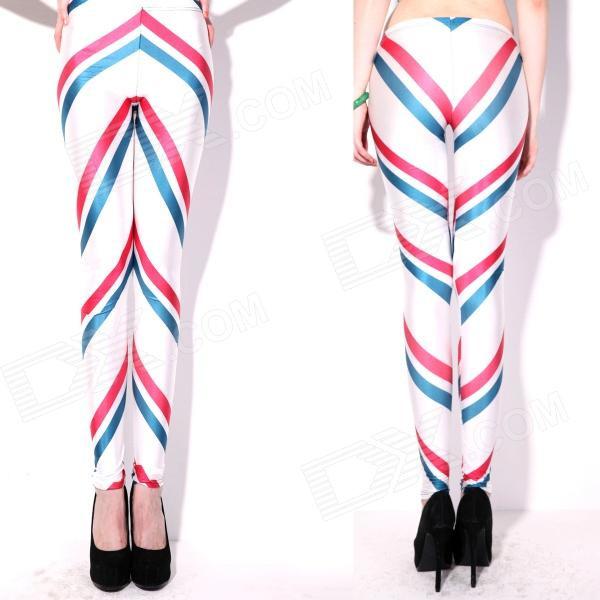 Röd Blå lutande ränder på Vita Leggings