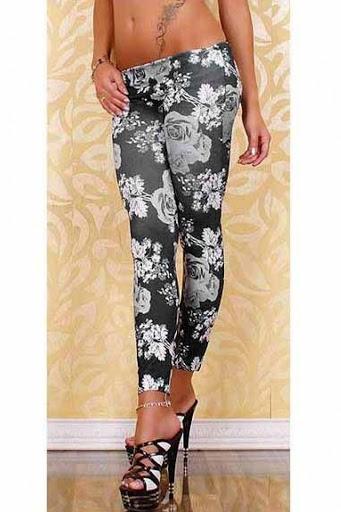 Svarta leggings med blommor