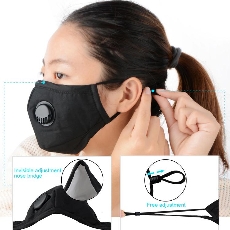 Tvättbart Ansiktsmask Munskydd med ventil Justerbara öronslingor och näsklämma 1-pack