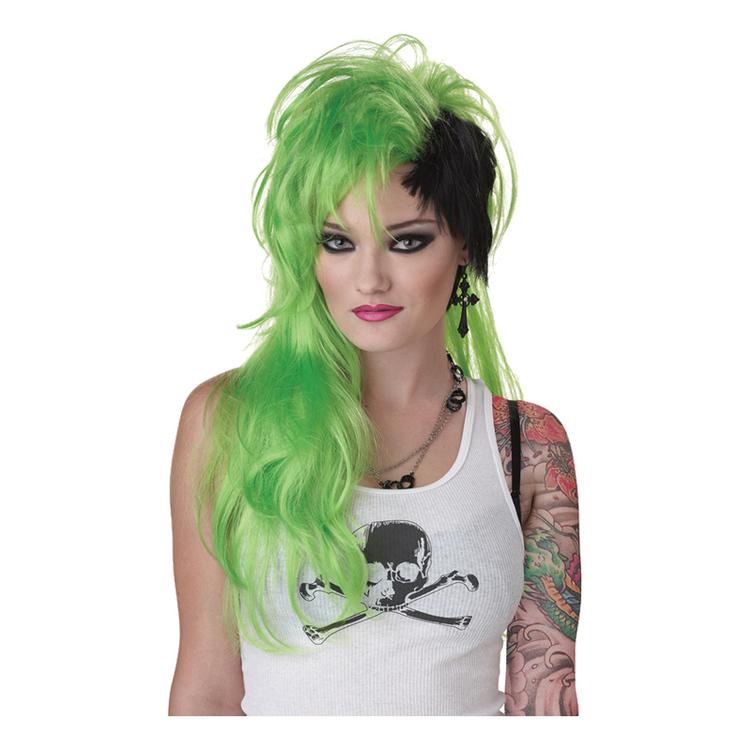 Punkperuk grön/svart Peruk