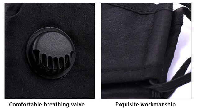 Tvättbart Ansiktsmask Munskydd med ventil Justerbara öronslingor och näsklämma 5-pack