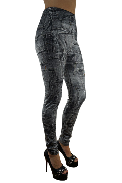 PATCHED JEANS PRINT LEGGINGS