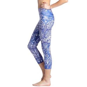 Blå Mandala Blomster Yoga Capri Leggings