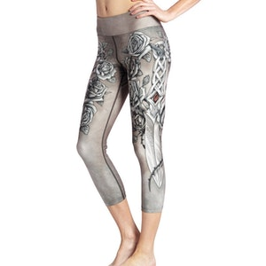 Grå Blommiga Yoga Capri Leggings