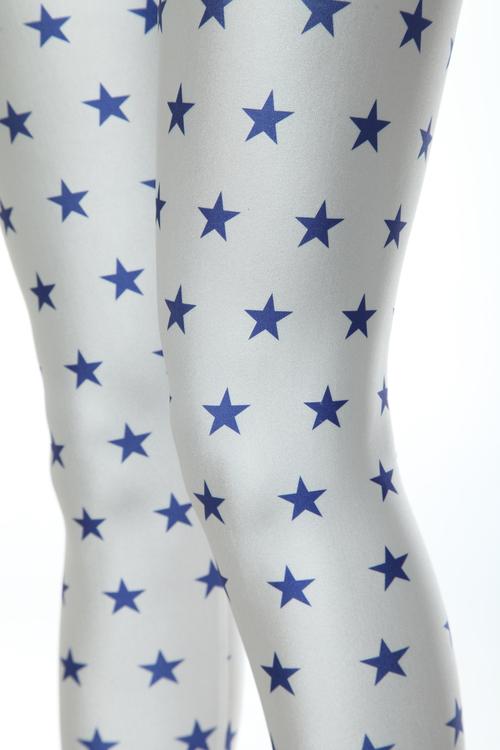 Vita Leggings med blå stjärnor