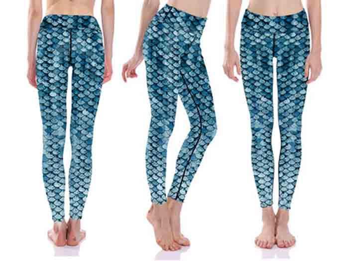 Blå Mermaid Yoga Leggings