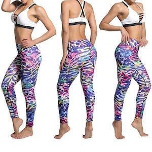 Färgglada Djurmönstrade Yoga Leggings