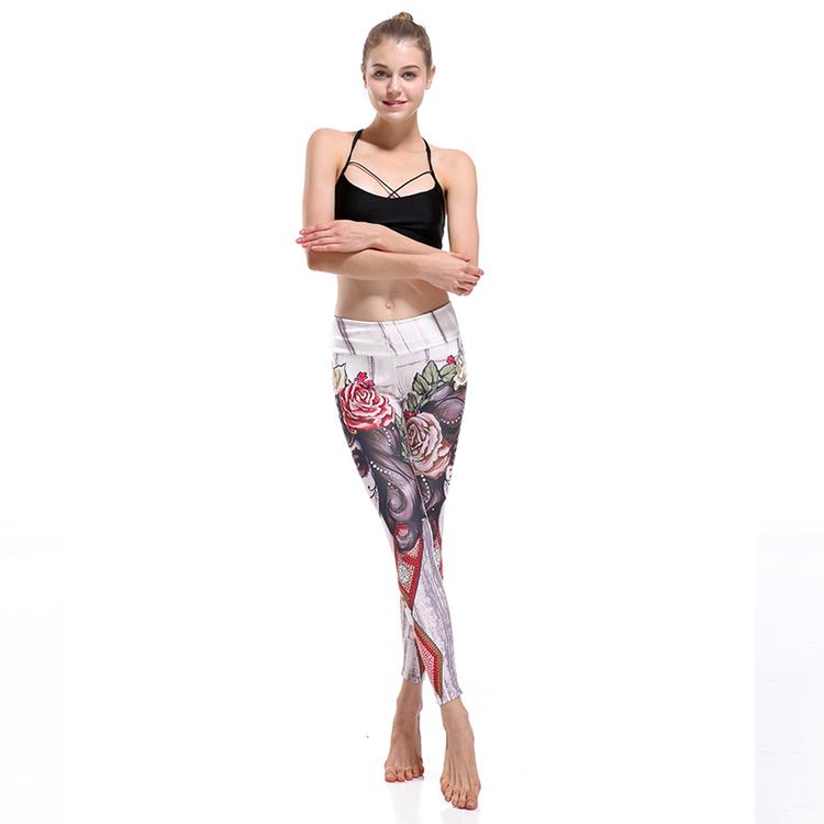 Tatto Woman and Rose Yoga Leggings