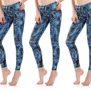 Blågröna Palm Yoga Leggings