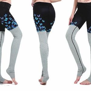 Blå fjärils Yoga Leggings