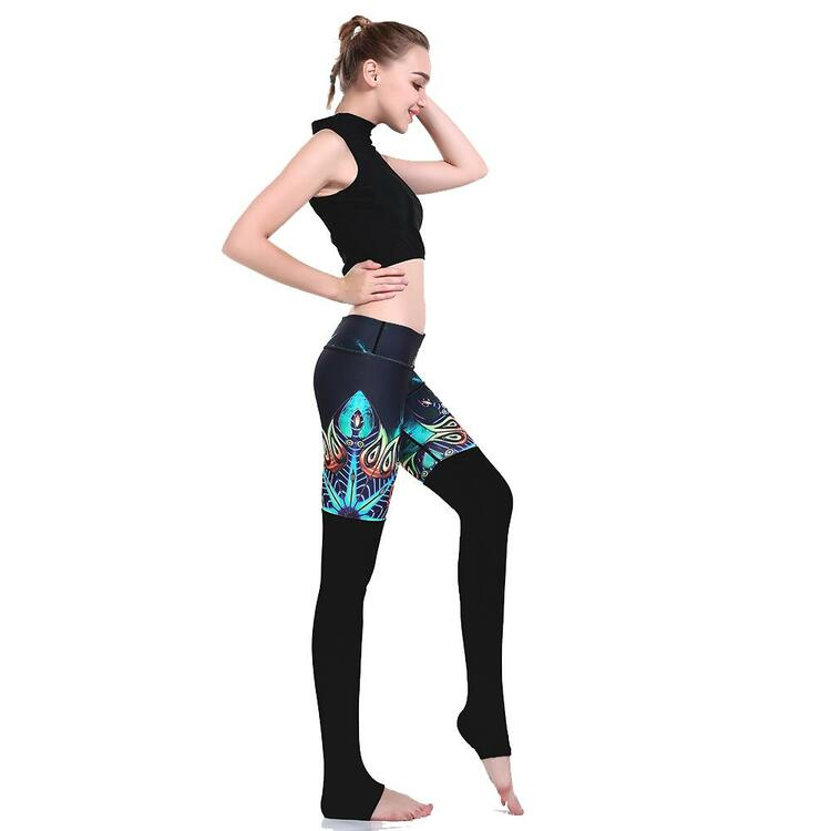 Svarta Mönstrade Yoga Leggings