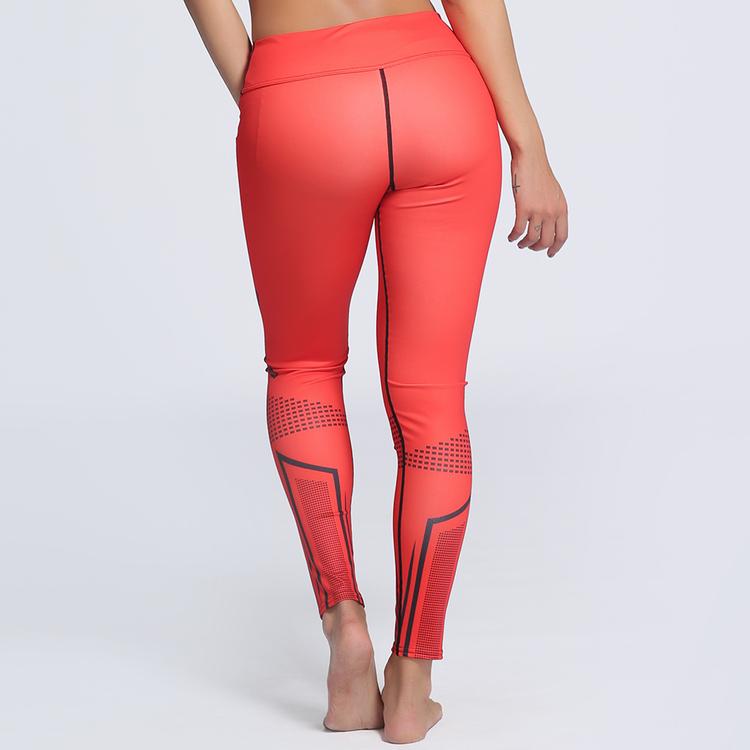 Röda Mönstrade Yoga Leggings