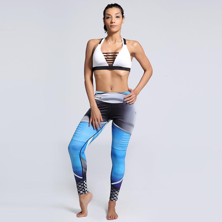 Blå Mönstrade Yoga Leggings
