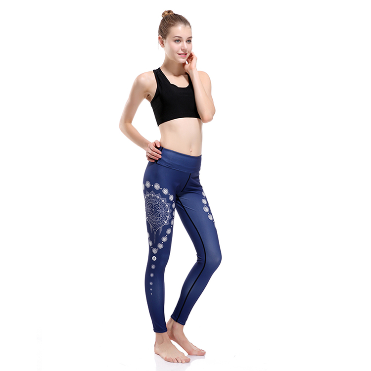 Mörkblå Yoga Leggings Med Mandala Mönster