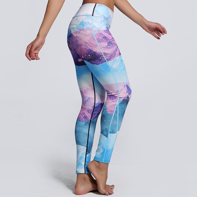 Färgglada Landskaps Yoga Leggings