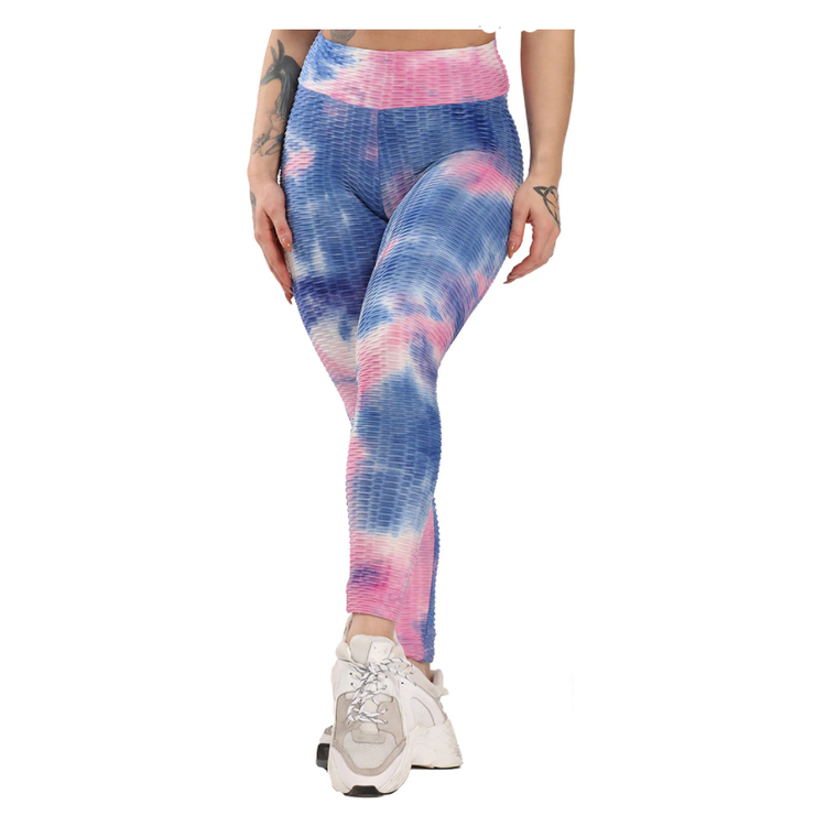 Rosa Blå Leggings med mönster Tie Dye