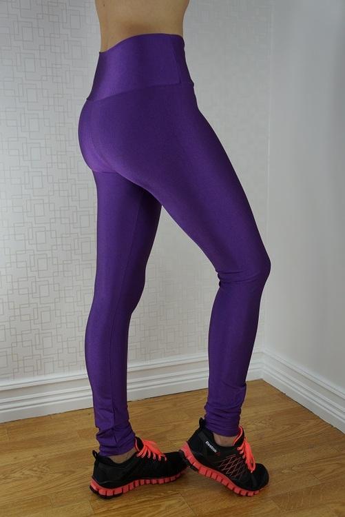 Lila Leggings Med Dragkedja