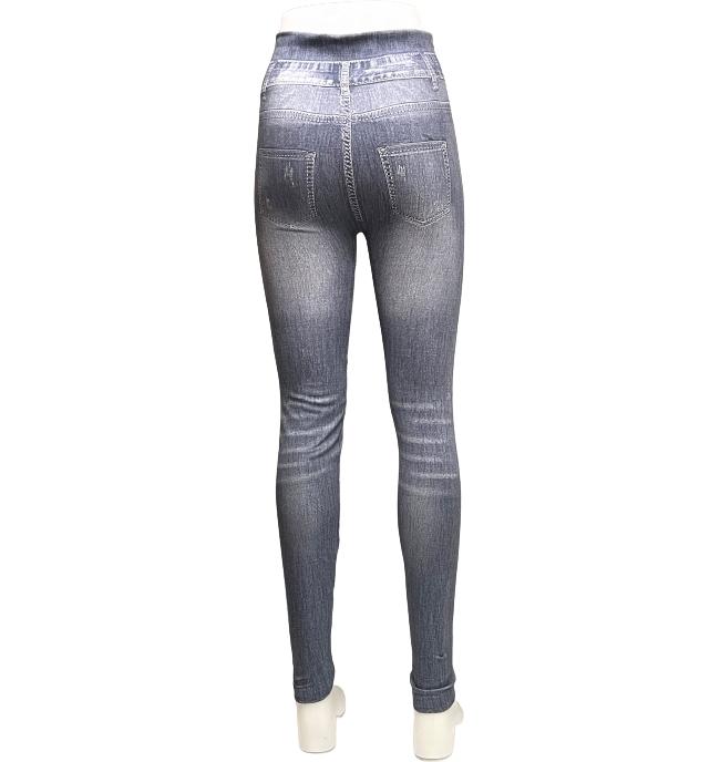 Svarta Denim Jeans Med Mönster och Pärlor Leggings