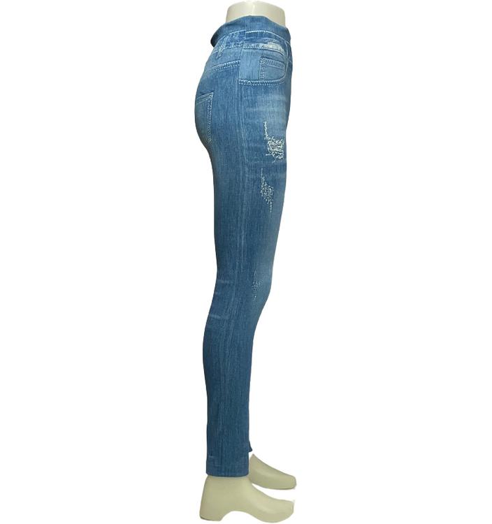 Blå Denim Jeans Med Mönster och Pärlor Leggings