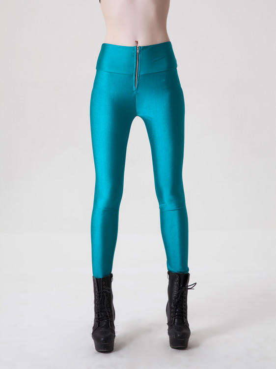 Zipper Neon Fluorescent Leggings Turkos