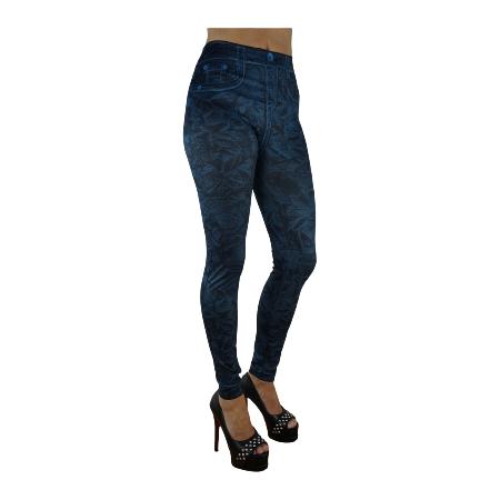 Mönstrade Blå Jeans Leggings