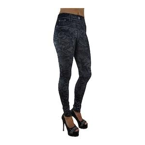 Mönstrade Svarta Jeans Leggings
