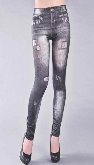 Mönstrade Jeans Leggings med tryck Svart