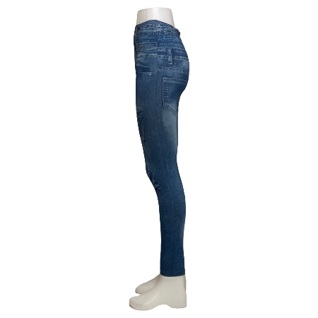 Blå Mönstrade Jeans Leggings