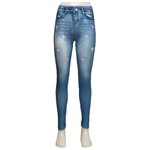 Blå Jeans Leggings Med Rosa Stjärnor