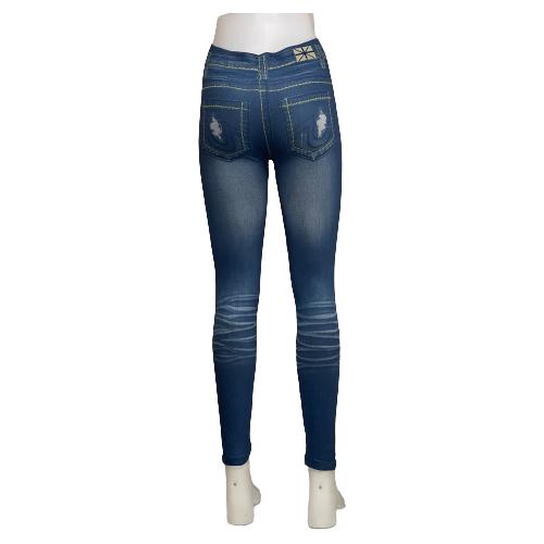 Blå Jeans Leggings med Tryck