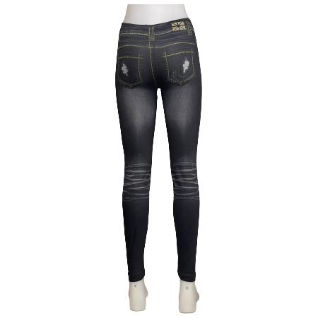 Svarta Jeans Leggings med Tryck