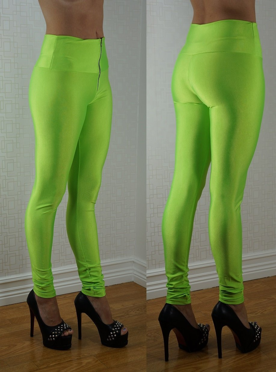 Zipper Neon Fluorescent Leggings Gröna