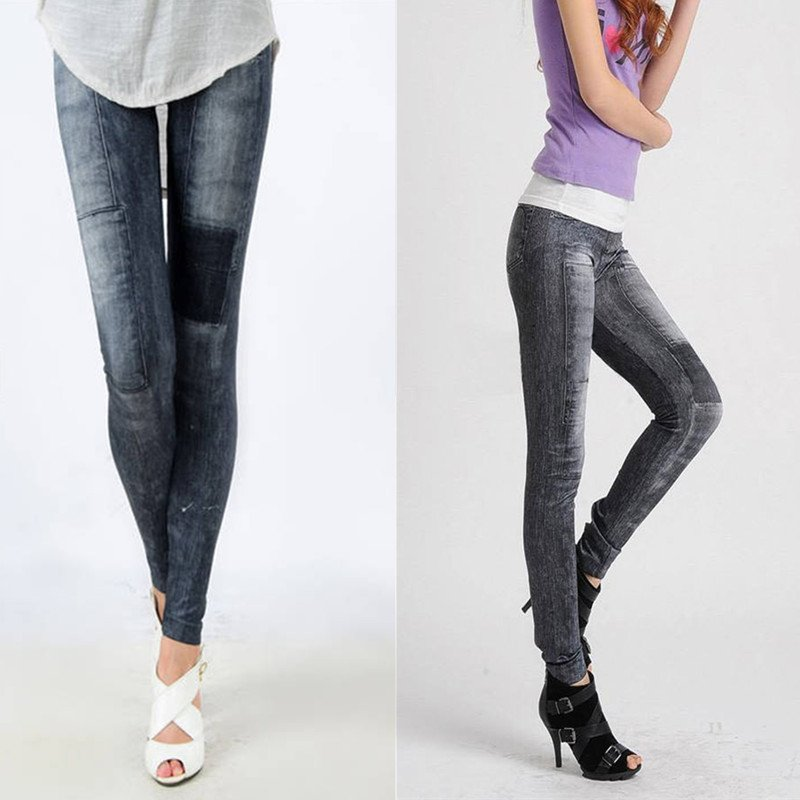 Summer Look Black Jeans Print Leggings