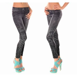 JEANS PRINT BLACK LEGGINGS