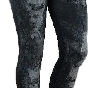 HOLE IMITATE BELT BLACK JEANS PRINT LEGGINGS