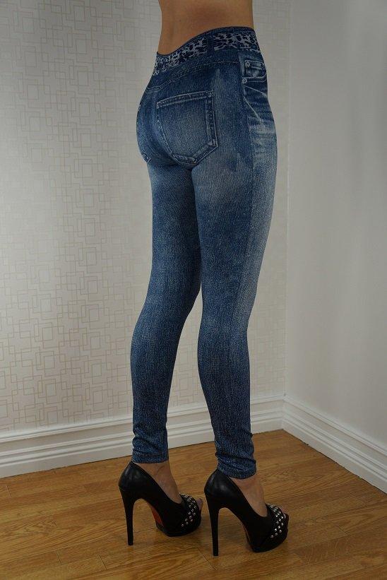 Leopard Scarf Belt Jeans Print Blue Leggings