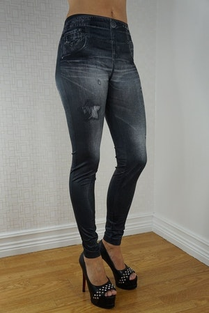 STAR BLACK JEANS PRINT LEGGINGS