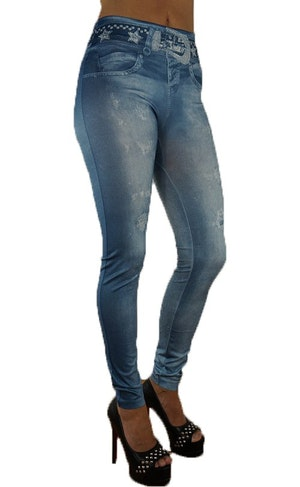 BLUE STAR BELT JEANS PRINT LEGGINGS